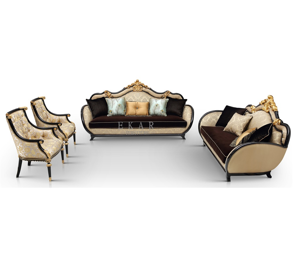 French Style Three Seater Classic Fabric Wood Trim living room Sofa sets Art Furniture