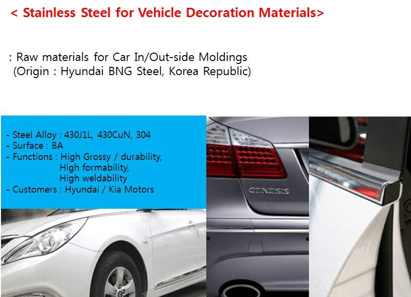 Stainless steel for Vehicles decorations (moulding trims)