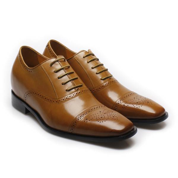7 cm brown leather wedding taller shoes