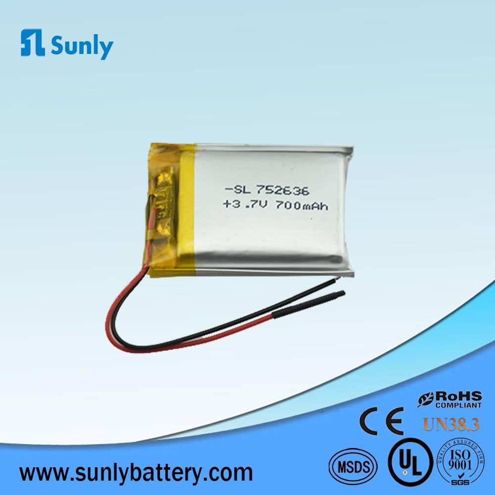 Model 752636 lithium polymer batttery 3.7V 700mAh li ion battery pack