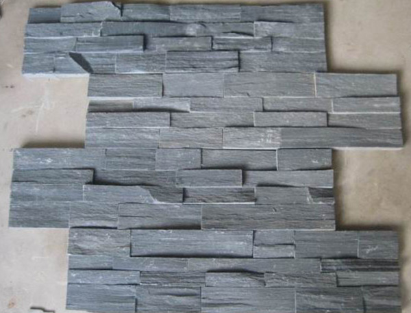 black rough surface natural stone culture stone panel for exterior wall cladding decoration