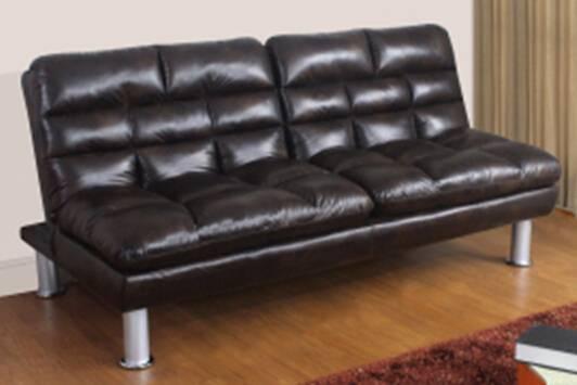 ST-628 black PU leather sofa bed