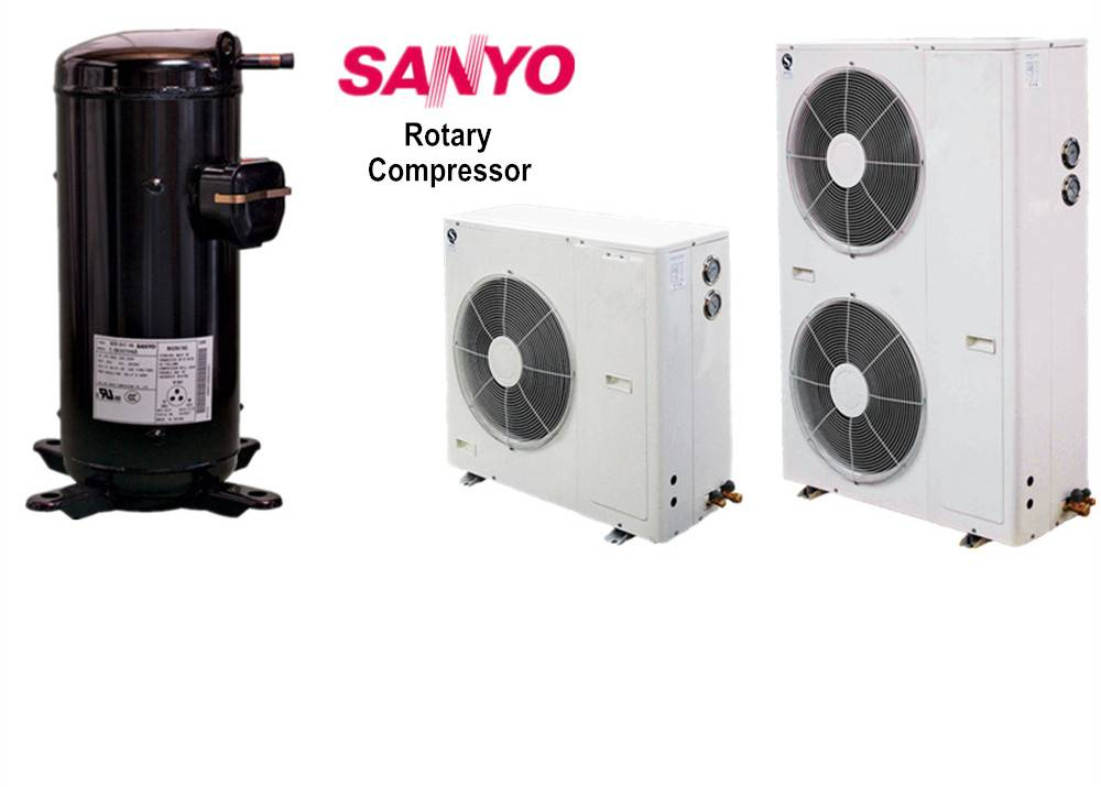 Rotary condensing unit, 3hp Sanyo condensing unit, small cabinet showcase refrigeration condensing u