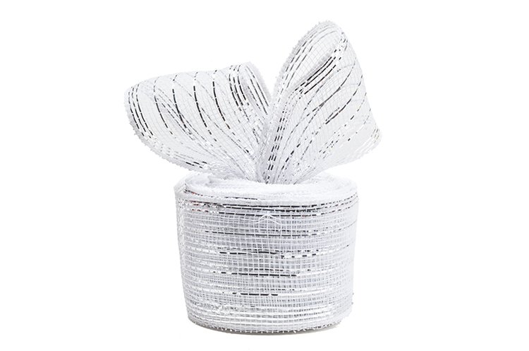 """21""""10y white strip plastic chinese wedding wreath mesh for 50S01"""