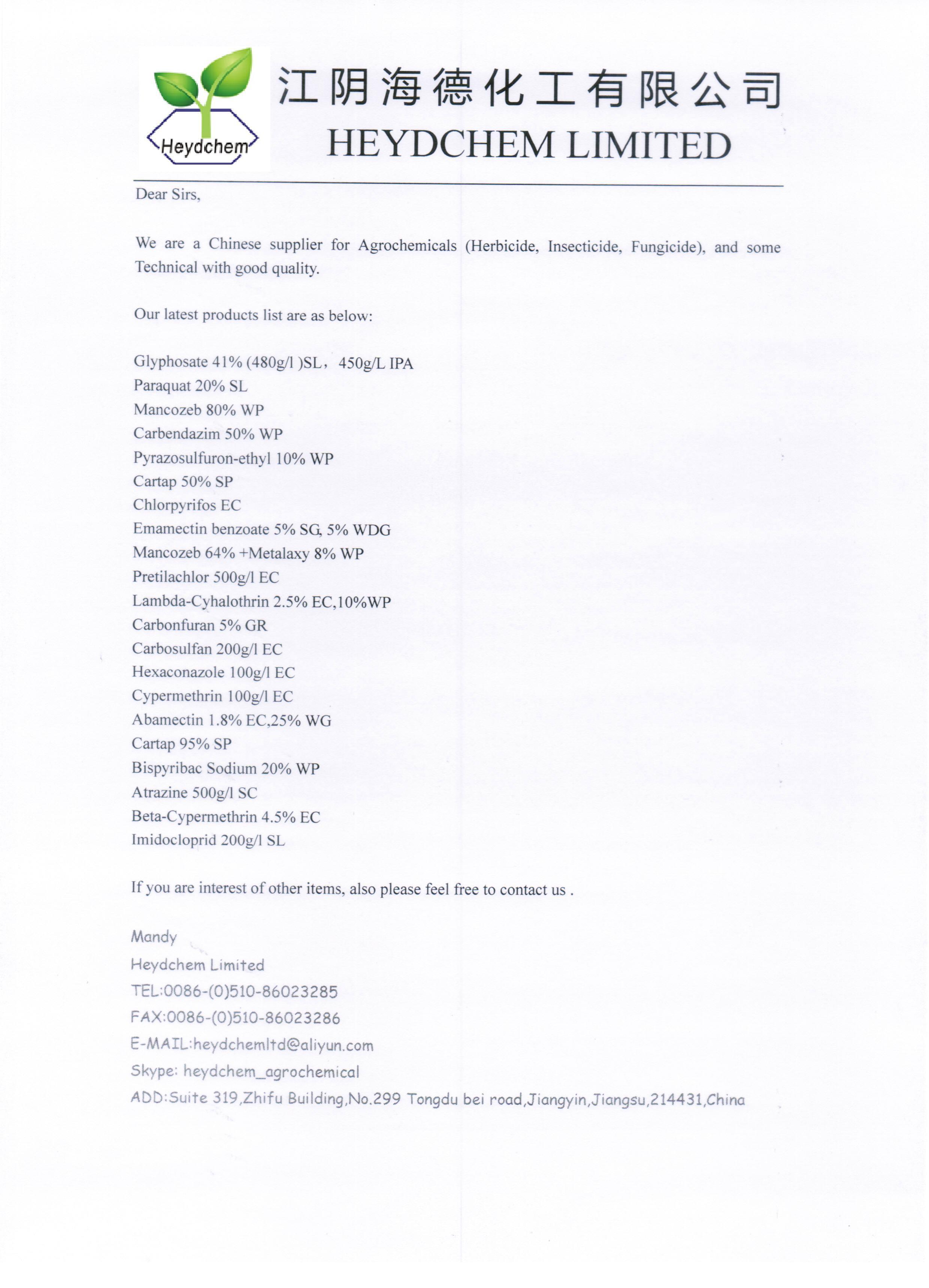 Lambda-Cyhalothrin 2.5% EC,10%WP