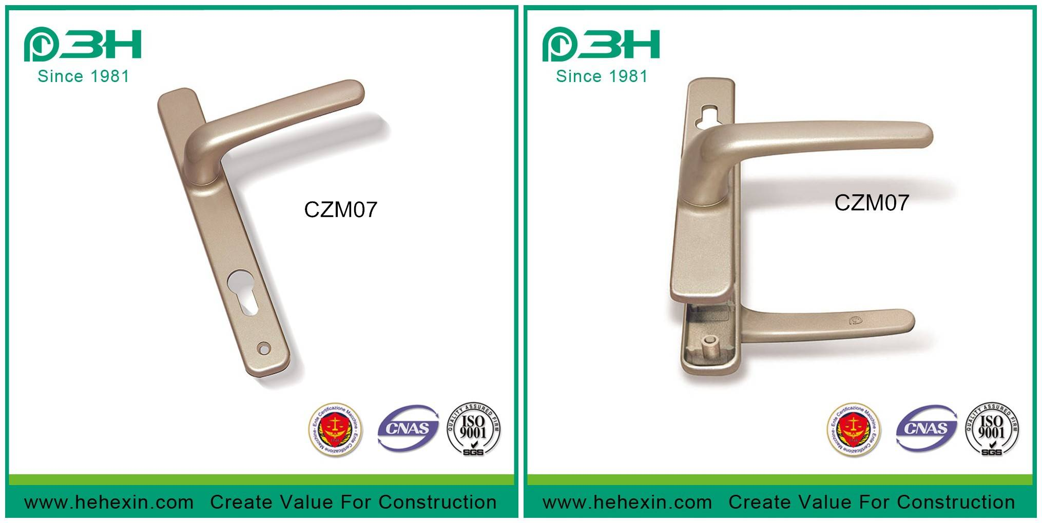 Hot selling aluminium door & window handle of Zinc alloy, CZM07