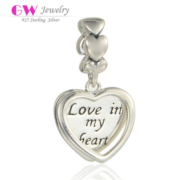 Wholesale DIY Jewelry Love In My Heart Sterling Silver Charm Double Heart Silver Dangle Charm S257