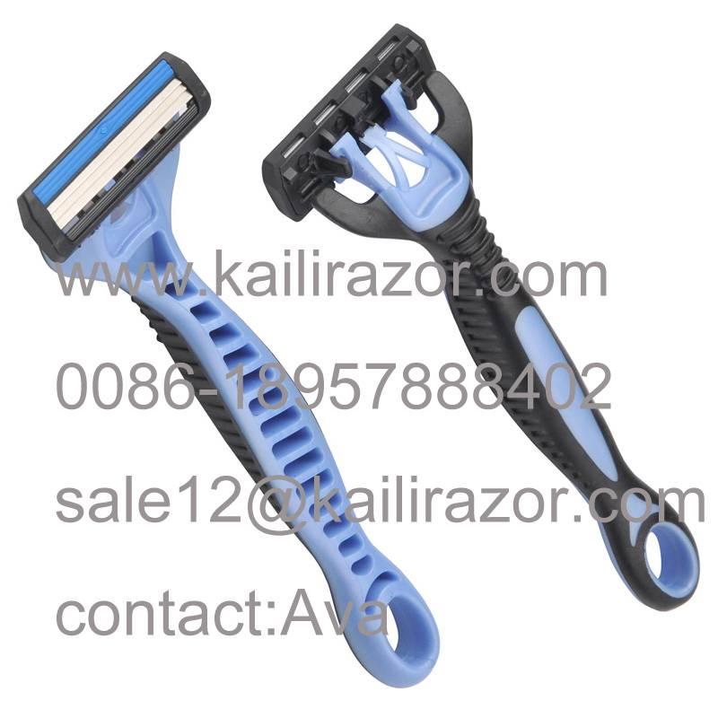 KL-X349L triple blade rubber handle disposable shaving razor