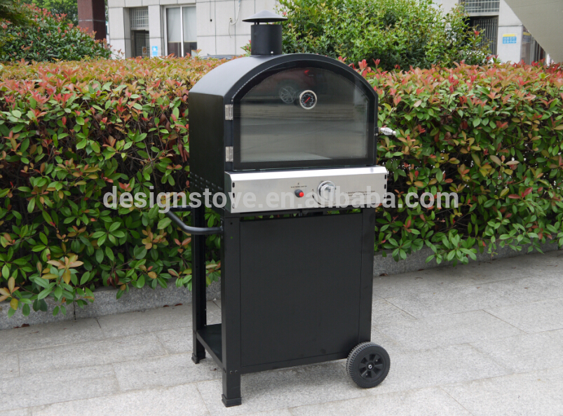 Trolley pizza oven with gas meat smoker grill