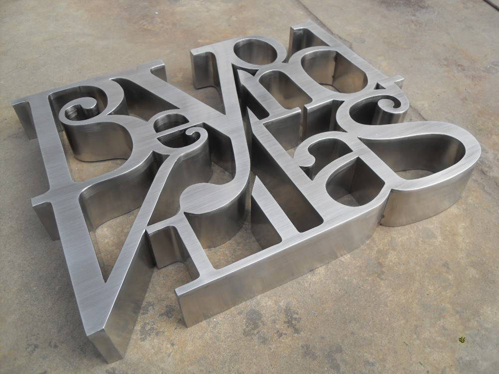 Outdoor signs brushed stainless steel brushed finish channel letter logo custom signage