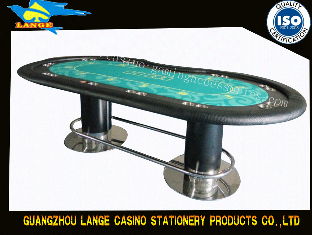 Personalized Texas Holdem Poker Table 10 Person With Cup Holders Pedestal