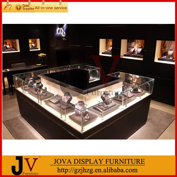 Wooden toughened glass jewelry showroom furniture