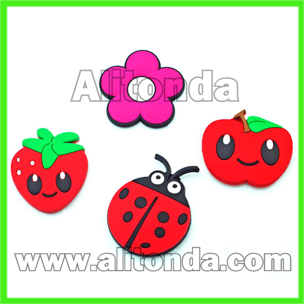 Custom soft pvc cartoon flower food smiling face animal 3d fridge magnet for home decoration