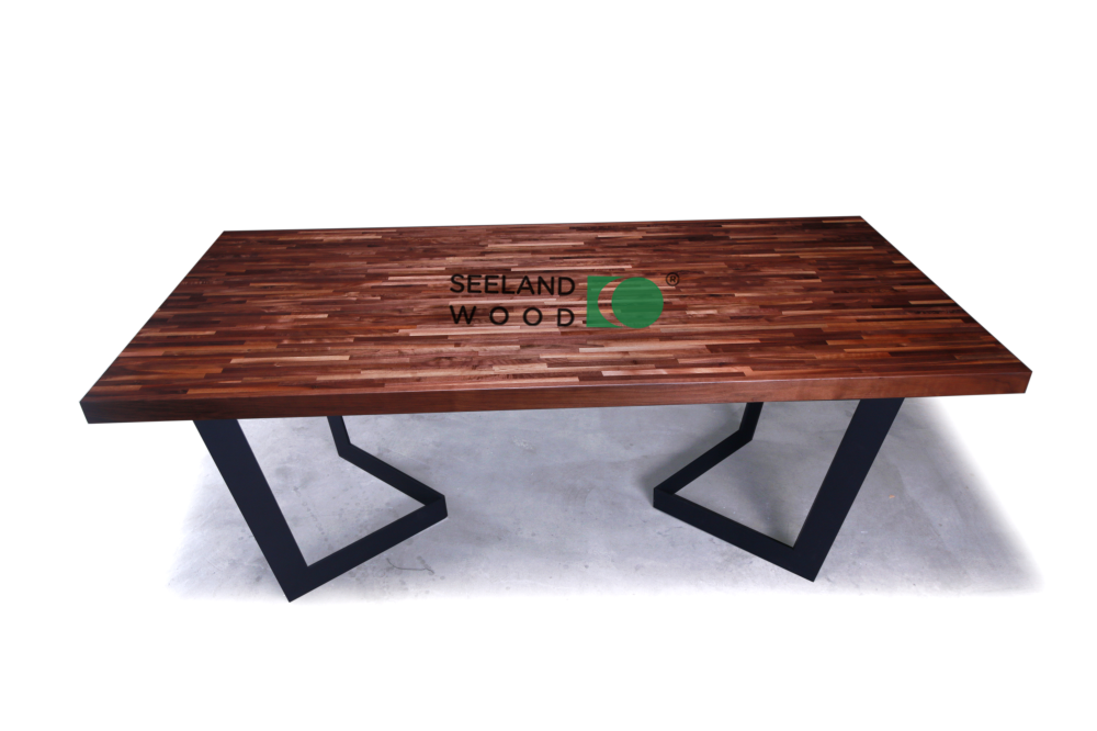 American black walnut edge grain table top with metal base