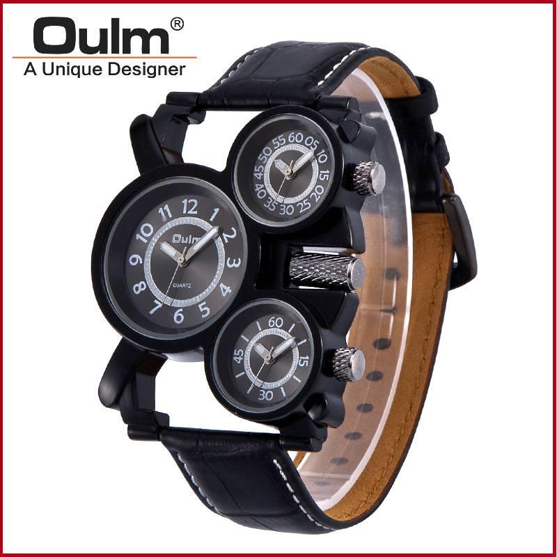 gun black palting alloy case leather belt three time zone watch