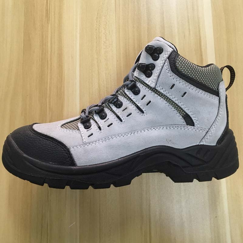 white leather upper PU sole middle cut safety shoes