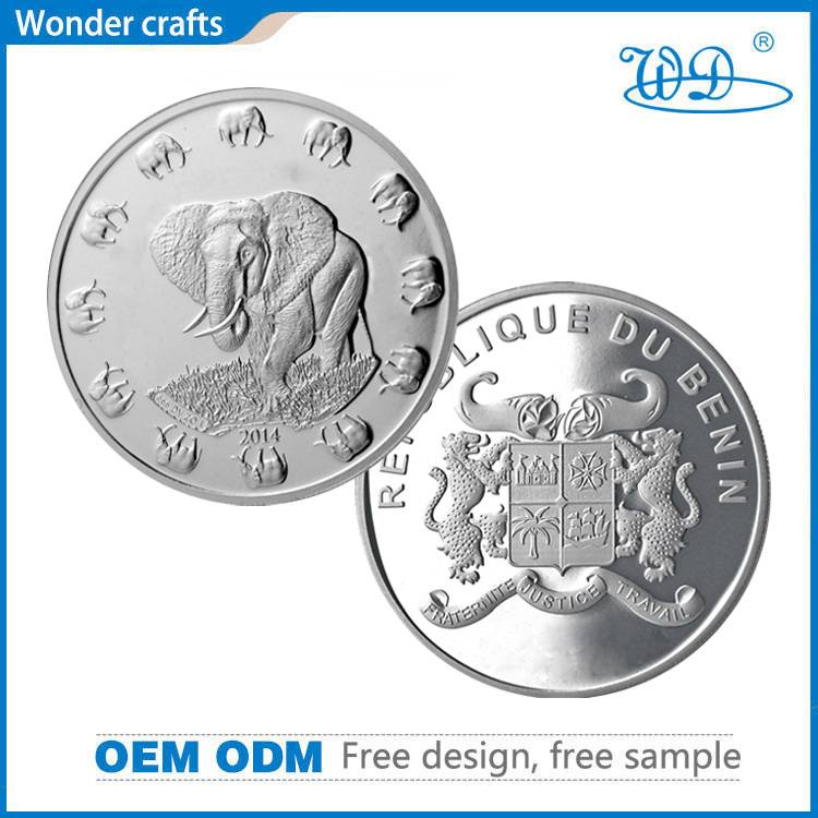 Personalized cheap customized 2d stamping engraved tungsten animal elephant challenge silver coins