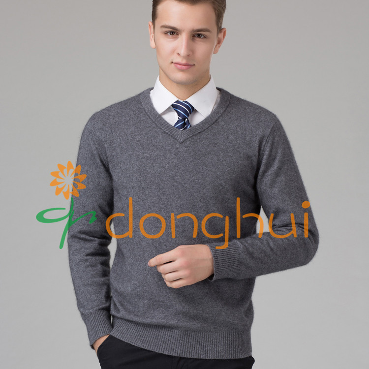 high quality winter V-neck knitted pure cashmere pullover sweater for men