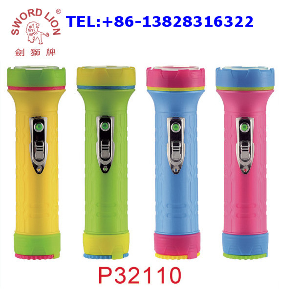 2017 hot sale SWORD LION brand 2D dry battery operated plastic led flashlight torch