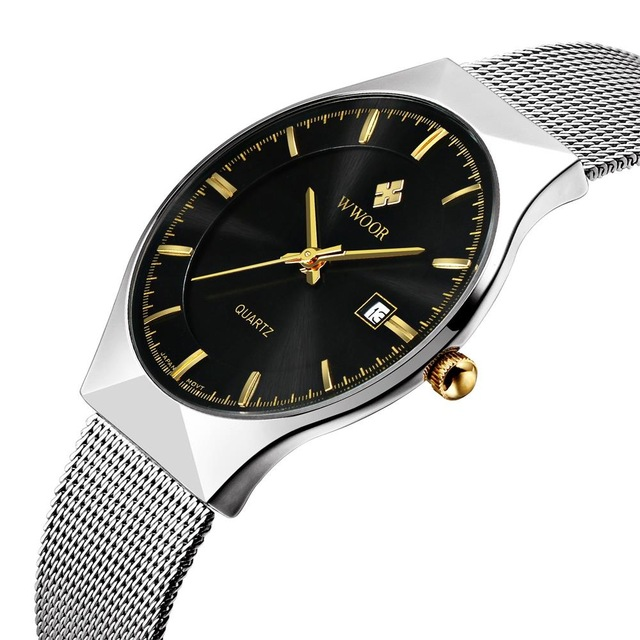 High qulity brand waterproof mens watches brief stainless steel band fashion watches with calendar