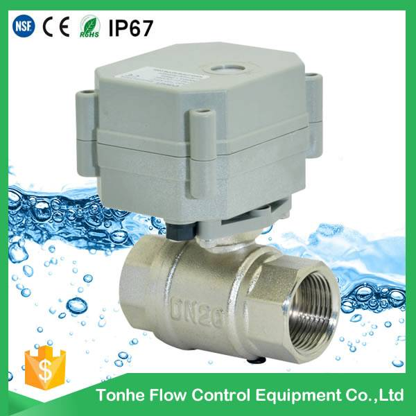 2016 CE nickel plated brass ball valve, 12v electric actuator price (T20-N2-C)