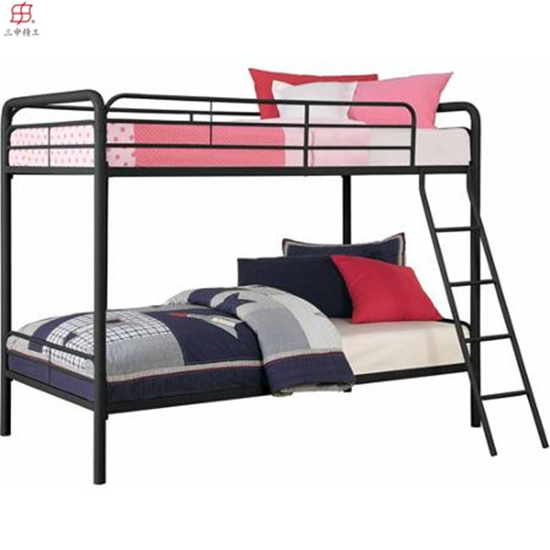wholesale cheap home furniture modern kid double bed easy assembly whiter/black/pink/red metal bunk