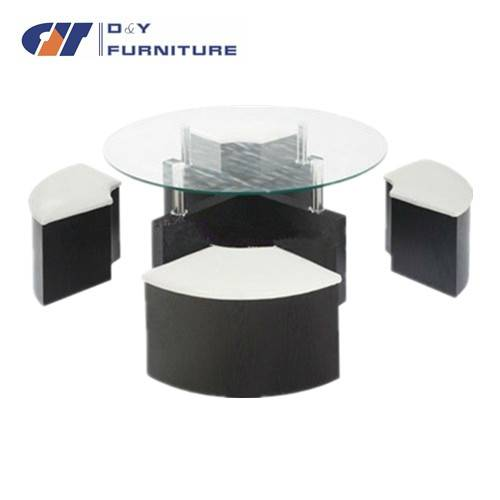 1+4 MDF stools, frame and glass top coffee table