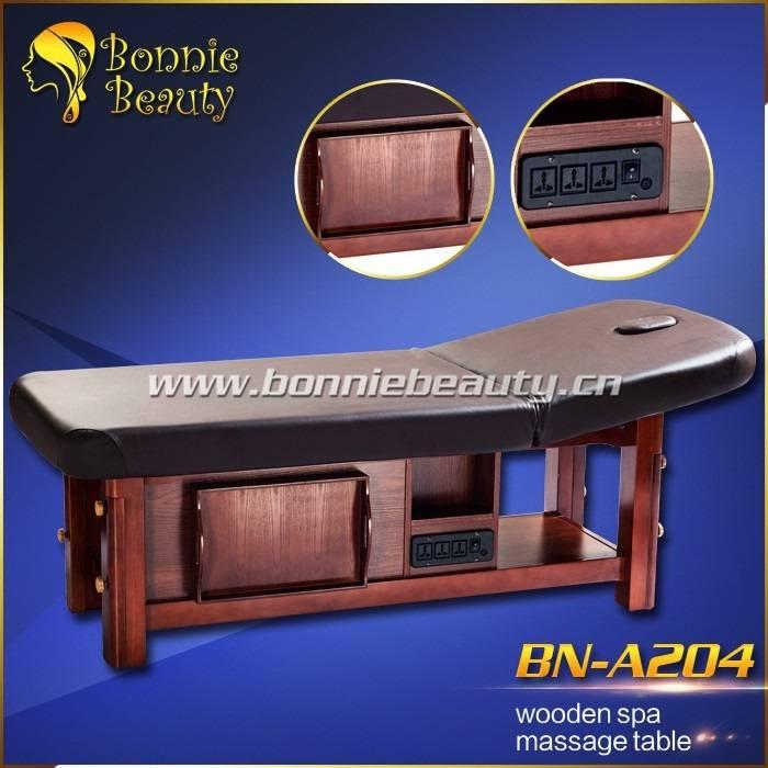 Solid wooden spa adjustable height shiatsu massage table
