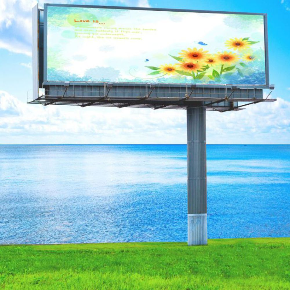 Highway durable steel structure advertising billboard with solar energy