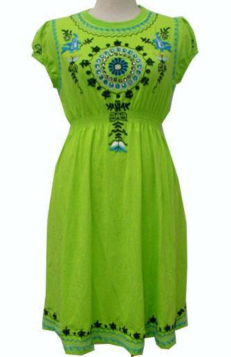 women 100% cotton print embroidery knitted dress