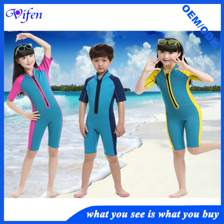 Popular hot sale shorty childs wetsuit youth swimwear zipper front wetsuits surfing suit warm keeper