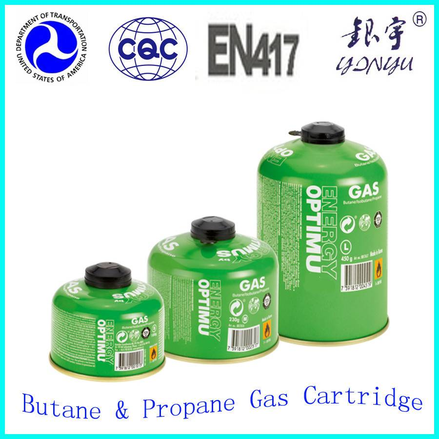 Camping gas cylinder 230g 450g with EN417 threaded valve