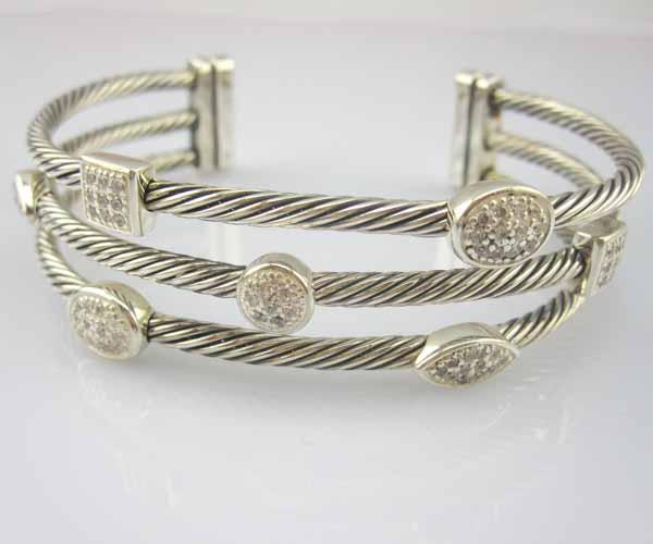 Sterling Silver Jewelry Three Row Diamond Bracelets (B-089)