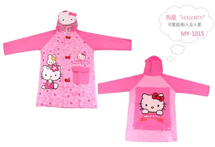 school student raincoat water-proof with hello kitty