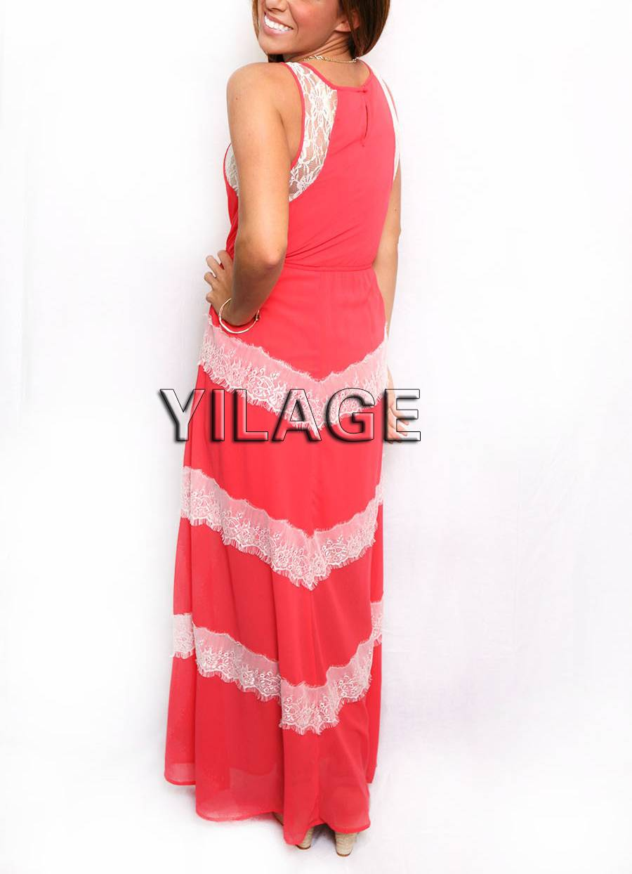 Fashion Summer Lady Chevron Lace Maxi Dress L1613