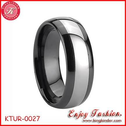 Domed Black Tungsten Ring, Two Tone Black Plated Ring, Wedding Ring, Tungsten Ring Wholesale