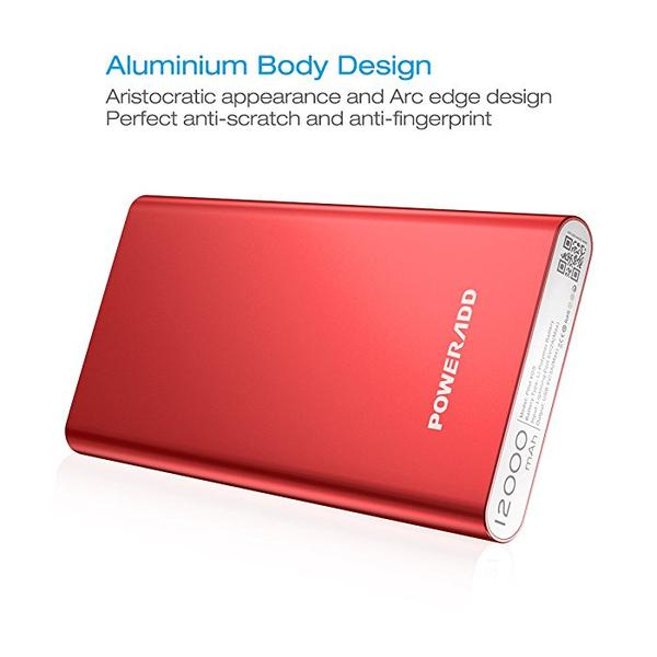 Poweradd Durable Dual USB Power Bank Portable Battery Pack Red Color