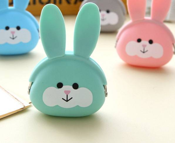newest design animal shaped rabbit silicone coin bag purse