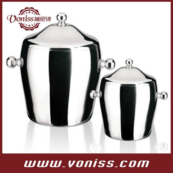 Double Layers Stainless steel with Handle tambourine-shaped ice bucket 1.2L and 2.0L