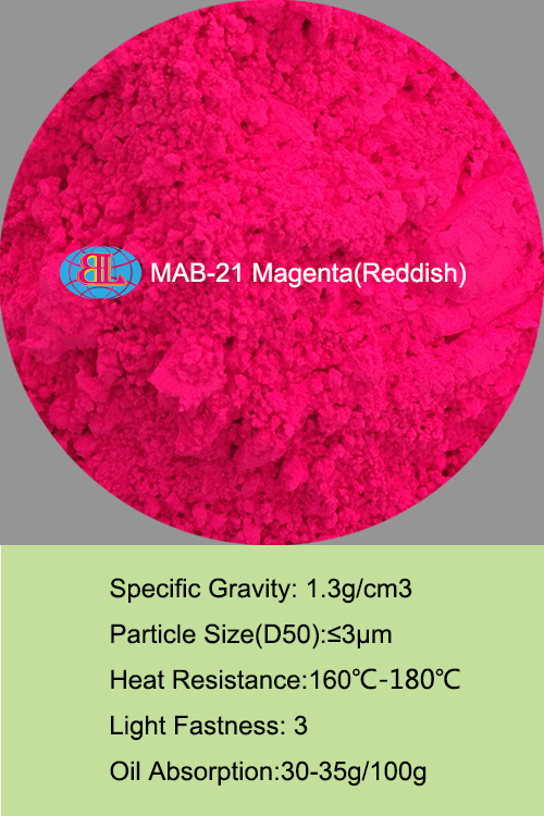 MAB-21 magenta (reddish )Fluorescent Pigment for paint
