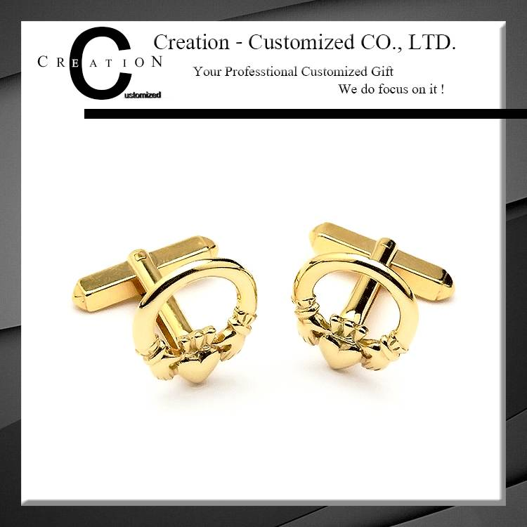 Hands and Heart Gold Plated Cufflink