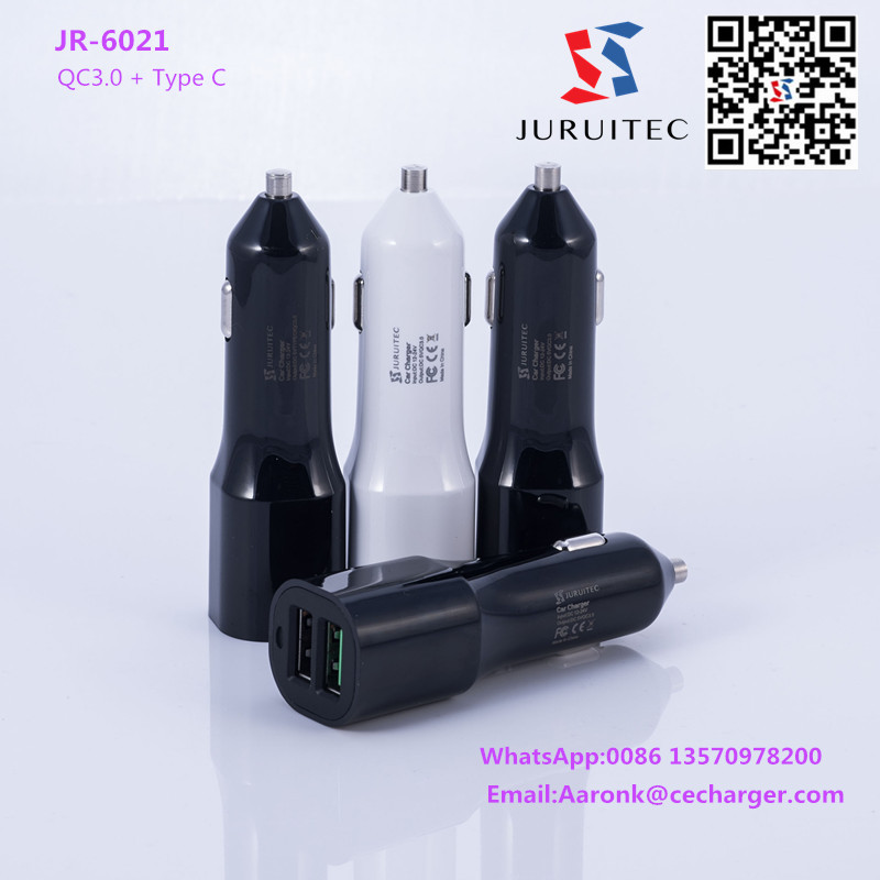One USB plus one type C USB car charger iPhone and Android Device