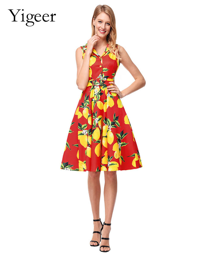 Vintage Sleeveless Printed Floral A-line Dress