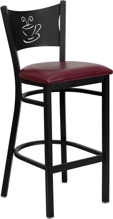 The wood &elongated vertical back metal barstool bar furniture bar chair