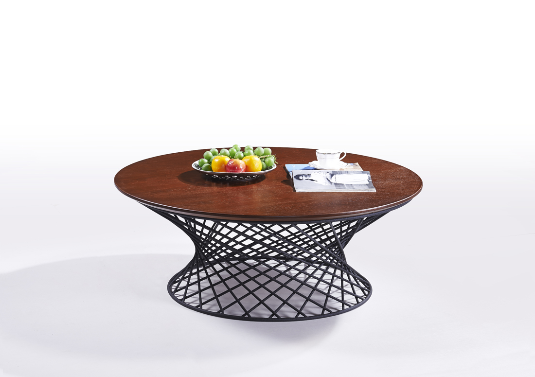 MS-3369 SHIMING FURNITURE Round wooden (MDF) or tempered glass top coffee table