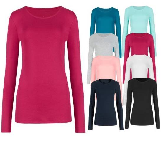 Ladies Pure Cotton Long Sleeve T-Shirt Base Top