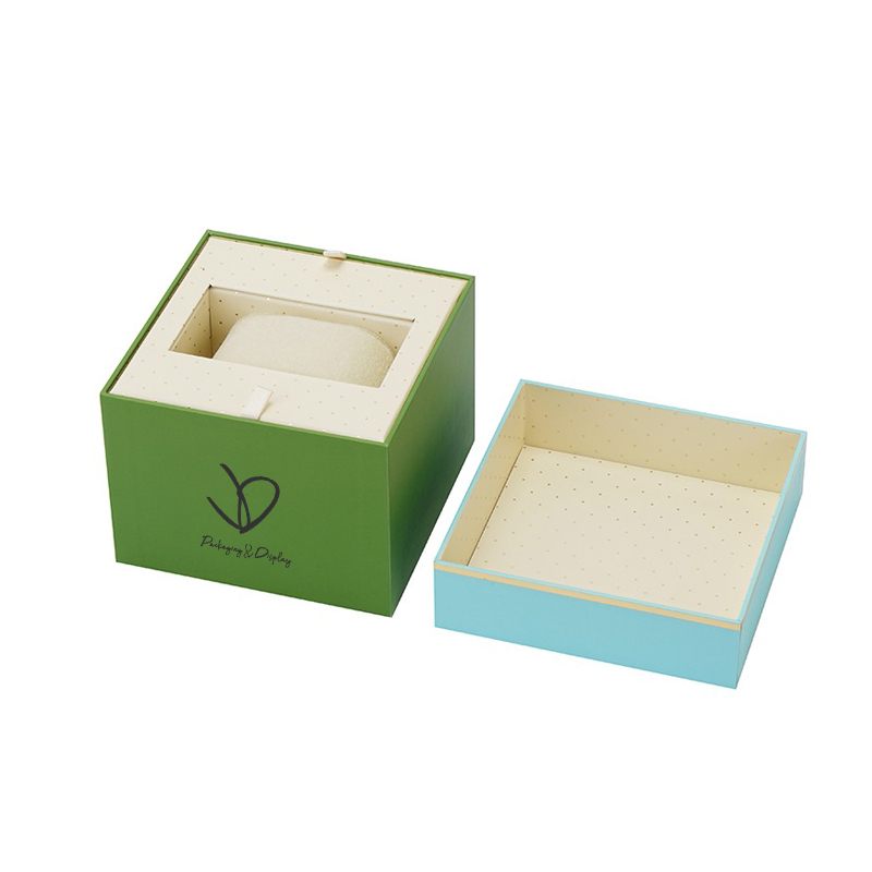 OEM rigid blue color paper box for holding watch with custom printing logo