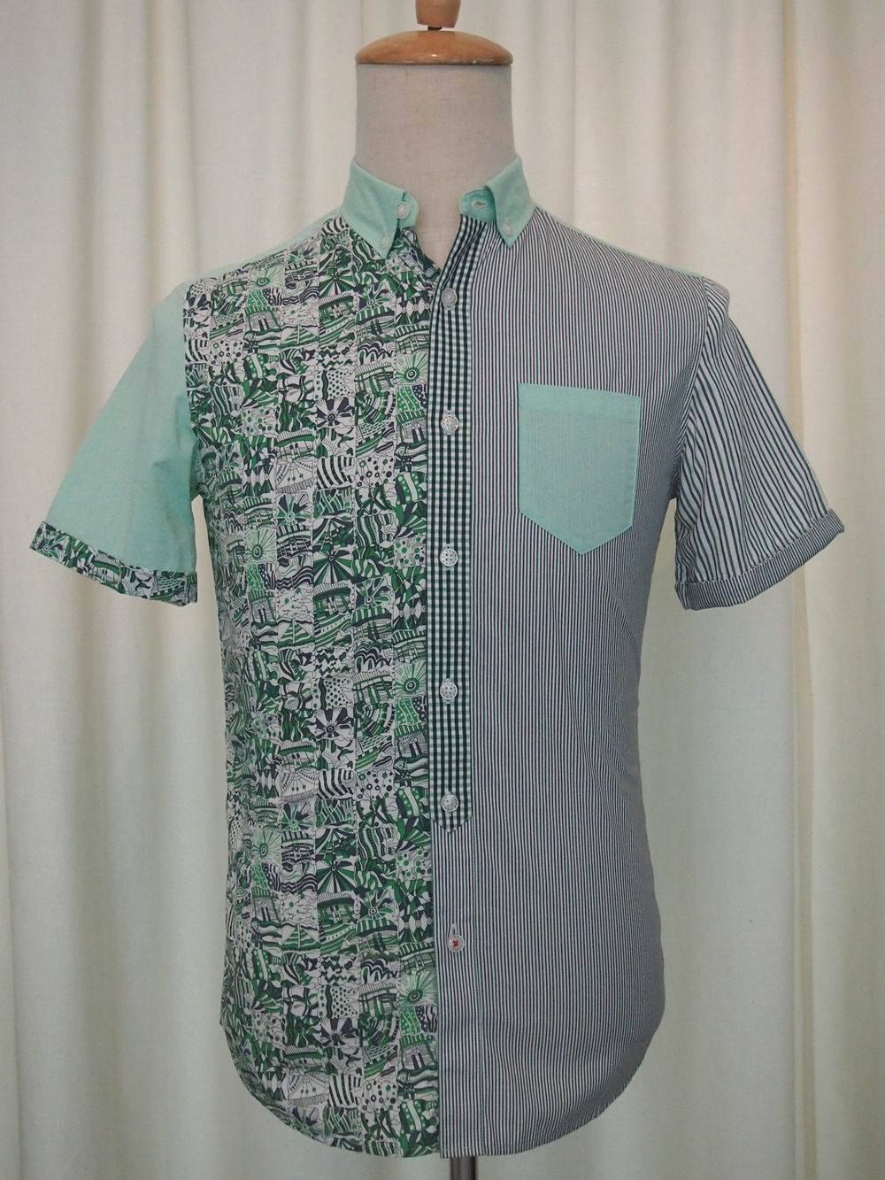 A variety of fabric splicing 2015Fashion NEW Men's Short Sleeve Shirt
