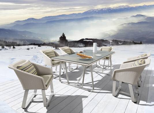 Outdoor dining table and chair