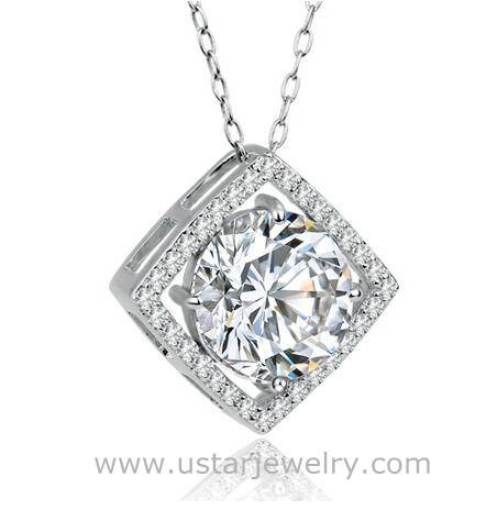 Wholesale Girls' Drop Style Jewelry Pendant Necklace With Crystal Rhinestone